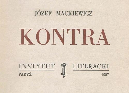 """Okładka książki Józefa Mackiewicza """"Kontra"""", 1957 rok"""