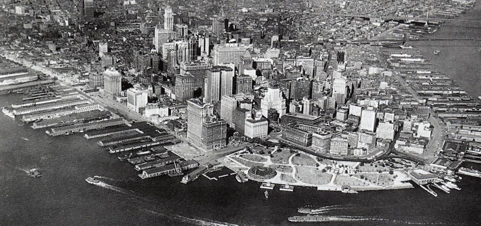 Nowy Jork, lata dwudzieste XX wieku - widok na Dolny Manhattan