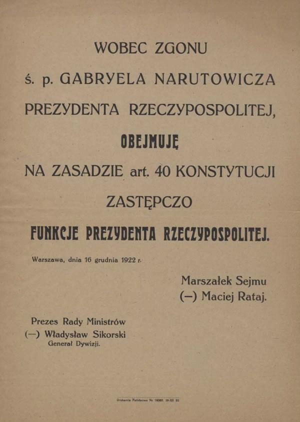 Informacja o przejęciu przez Macieja Rataja funkcji prezydenta.