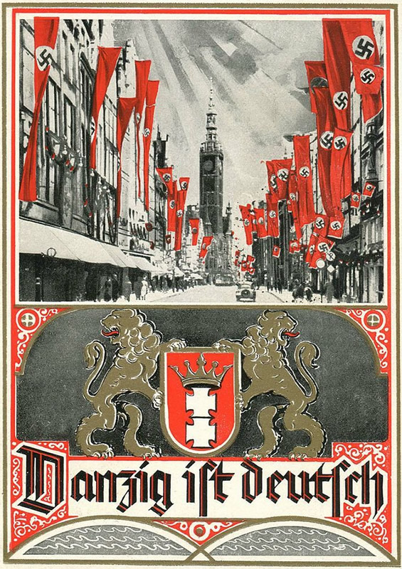 """""""Danzig ist Deutsch"""" - pocztówka propagandowa z 1939 roku"""