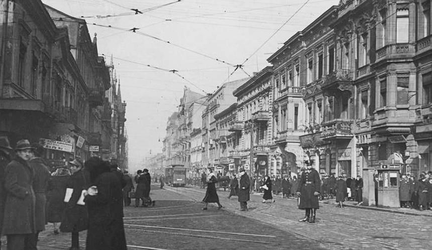Łódź ul. Piotrkowska - lata trzydzieste XX wieku