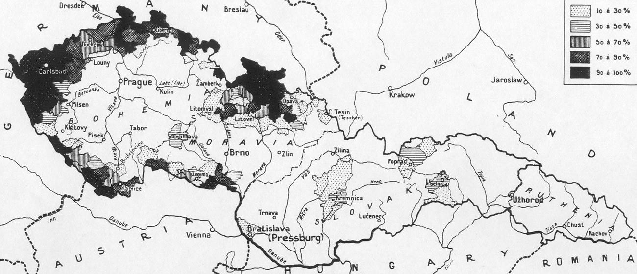 Mapa rozmieszczenia ludności niemieckiej w Czechosłowacji