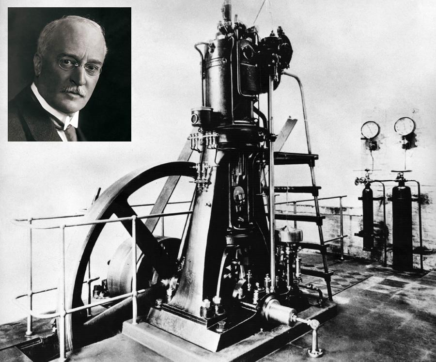 Pierwszy silnik Diesla zbudowany przez zakłady Kruppa w roku 1897; po lewej Rudolf Diesel