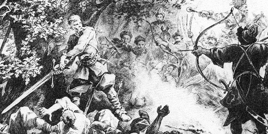 Śmierć Podbipięty pod Zbarażem, ryc. Juliusza Kossaka