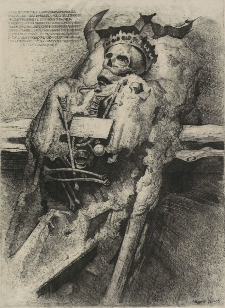 Grafika przedstawiająca szczątki Barbary Radziwiłłówny autorstwa Jerzego Hoppena