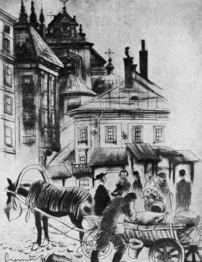 """MARJENSZTADT - """"Warszawa w karykaturze"""" Zdzisława Czermańskiego - Wiadomości Literackie nr 560 (12.08.1934)"""